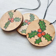Woodburned and Hand painted Chrstmas Ornament Wooden Mistletoe Ornament set of 3 Rustic Pyrography Christmas Decor Red and Green Christmas Wood Crafts, Painted Christmas Ornaments, Wooden Ornaments, Christmas Art, Christmas Decorations, Green Christmas, Christmas Signs, Wood Slice Crafts, Wood Burning Crafts