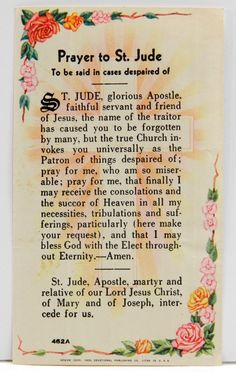 "Prayer to St Jude Vintage Holy Card 1955 ""To be said in cases despaired of"" 13958 by QueeniesCollectibles on Etsy"