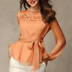 Alta qualidade quente! ! Respirável rendas bordado solta grandes estaleiros XXL arco babados camisa chiffon blusas camisas da Primavera 2014 12.86