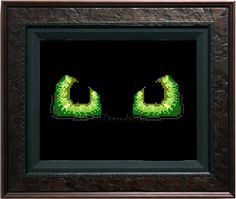 "Green dragon eyes cross stitch PATTERN approx 7"" x 3"" by JurassicStitches on Etsy https://www.etsy.com/listing/267186403/green-dragon-eyes-cross-stitch-pattern"