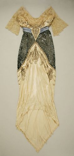 Evening Gown (circa 1914) I love classic design and the exquisite detailing on this gown.  I'd be thrilled to wear this style gown to a special occasion current-day!  Truly a classic!