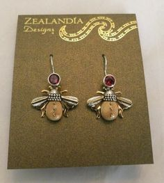 "New Zealandia ""Bees"" Sterling Silver 14k GF Garnet Gem Bees Collection Earrings 