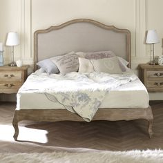 New White Washed Solid Oak Upholstered French Low Foot Board Bed In Stock Country Headboard, King Size Headboard, King Size Bedroom Furniture, Bedroom Decor, Master Bedroom, Luxury Home Furniture, Sleigh Beds, Upholstered Beds, Furniture Styles