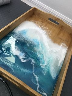 Epoxy Resin Art, Diy Resin Art, Diy Resin Crafts, Acrylic Resin, Resin Furniture, Acrylic Pouring Art, Resin Artwork, Ocean Art, Beach Art
