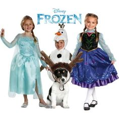 Disney Frozen Group Costume for toddlers, kids and even the family dog! Includes Anna, Elsa, Olaf and Sven!