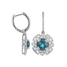 Color Story 14K White Gold Earrings with London Blue Topaz (1.8 ct) & Diamonds (0.4 ct) http://vptoday.com/Z1Aig6