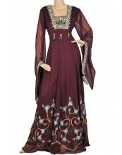 """aljalabiya.com: """"Burgundy Lotus"""" Pure chiffon kaftan with colored butterfly print and hand embroidery on chest and cuffs (N-10914)"""