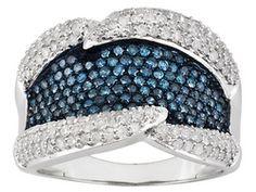 White And Blue Velvet Diamond (Tm) 1.50ctw Round 10k White Gold  Ring