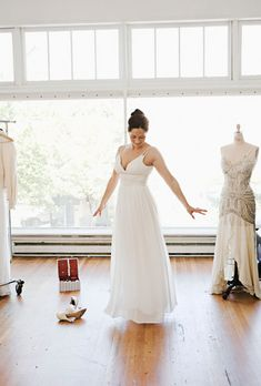 Brides.com: Wedding Dresses for Petite Figures.  For brides who are short in stature and narrow at the waist—otherwise knows as petite—wedding dresses that create the illusion of a long torso are ideal. We scoured the runways to find the most flattering styles for your tiny frame. Here, 76 dresses that work well for petite body types. The best part? You can try them all on at home in our Virtual Dressing Room!