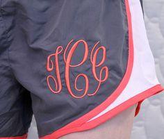 Monogram exercise running shorts  - Women & Girls Sizes. $27.00, via Etsy.