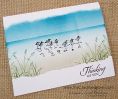 handmade card ... beach/wetlands scene... one layer ... sponging for sand, water, sky ... stamped birds and grasses ... like the torn edge matting ... great card!! ...Stampin' Up!