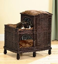 Plow Rattan Multi-Tiered Cat Palace With Washable Pillows Gifts For Pets & Pet Lovers from Plow & Hearth on Catalog Spree Pet Furniture, Wicker Furniture, Furniture Design, Pet Beds, Dog Bed, Palace Pets, Cat Condo, Cat Supplies, Litter Box