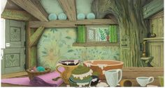 Sleeping Beauty Cottage Interior Pan Preliminary Background (Walt Disney, Outstanding preliminary - Available at 2016 December 10 - 11 Animation. Sleeping Beauty Fairies, Sleeping Beauty 1959, Disney Sleeping Beauty, Animation Film, Disney Animation, Cottage Nursery, Disney Animated Films, Beauty Background, House Of Beauty