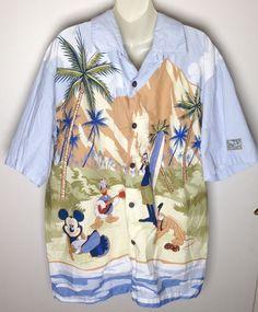 Disney Parks Hawaiian Aloha Shirt L Large Mickey Donald Goofy Pluto Surf Beach #Disney #Hawaiian