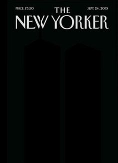 "Art Spiegelman's incredibly subtle post-9/11 cover for The New Yorker, 2001 (you may need to tilt your screen). He resigned from the magazine a few months later, citing ""widespread conformism"" in American media."