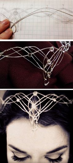 DIY Elvish Crown Tutorial from Rachel Ann Poling. This is a 2 part tutorial for making this wirework DIY Elvish Crown. Part 1 - the design phase - is here. After doing wirework myself and posting hundreds of wire DIYs on truebluemeandyou, what I found mos Cosplay Tutorial, Cosplay Diy, Halloween Cosplay, Halloween Diy, Cosplay Costumes, Diy Elf Costume, Costume Ideas, Wire Jewelry, Jewelery