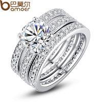 Bamoer marca de luxo da moda platinadas nupcial Set anel para mulheres com pavimentada Micro Zircon cristal jóia do casamento…