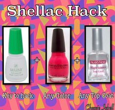 Shellac Hack at home gel manicure. No light needed to activate gel & your manicure will last for a week without chipping. Step 1: Gelous Advanced Nail Gel Coat (You can buy this at Sally's Beauty Store for less than $6) This is the key to the hack. Polish a coat & let dry. Step 2: Polish a coat of any color. Step 3: Polish another coat of Gelous to nails. Step 4: Now polish another coat of color to nails. Step 5: Polish any top coat & then finish by another coat of Gelous.