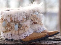 Aangepaste BRIDAL Upcycled nieuwe COWBOY BOOTS  boho boots