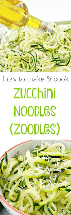 To Make and Cook Zoodles - Zucchini Noodles How to make and cook zucchini noodles or zoodles!How to make and cook zucchini noodles or zoodles! Zoodle Recipes, Spiralizer Recipes, Veggie Recipes, Vegetarian Recipes, Cooking Recipes, Healthy Recipes, Freezer Recipes, Freezer Cooking, Drink Recipes