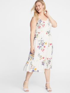 Old Navy Women's Plus-Size Fit & Flare Tiered Cami Midi Dress White Floral Size Plus Size Dresses, Plus Size Outfits, Nice Dresses, Dresses With Sleeves, Summer Dresses, Cami Midi Dress, White Midi Dress, Peplum Dresses, Plus Size Womens Clothing