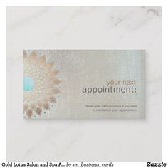 Gold Lotus Salon and Spa #Appointment Card Ad- An ideal card for anyone in the professional fields of health, wellness, beauty, fashion, mental health and entertainment.This exotic artistic lotus flower illustration has a elegant fusion of vintage, modern and new age.