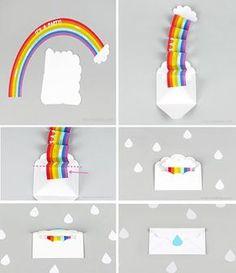 manualidades infantiles invitación aroc iris2 Preciosa Invitación de cumpleaños arco iris en un sobre