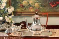 Please take time to look at all the photos. The ZOOM feature is amazing!    This is a beautiful Art Deco Style English Tea Service.    The teapot,
