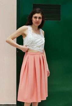 CORAL PLEATED SKIRT via tsouknida. Click on the image to see more!