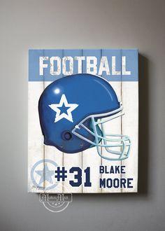 Football - Football Art - Sports - Nursery Art - Canvas Art , Wall Art, Vintage  Football  Canvas,  Boys Room Decor on Etsy, $51.00