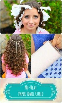 "How to Create ""No-Heat"" Paper Towel Curls - Cute Girls Hairstyles Cute Girls Hairstyles, Curled Hairstyles, Diy Hairstyles, Pretty Hairstyles, Church Hairstyles, Pinterest Hairstyles, Updo Hairstyle, Hairdos, Wedding Hairstyles"