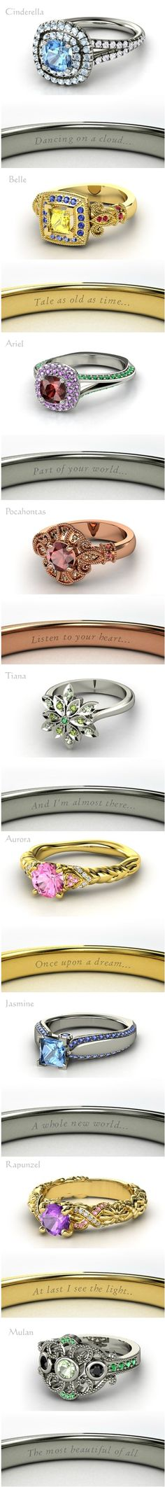 Pretty Disney Princess Rings.  :)