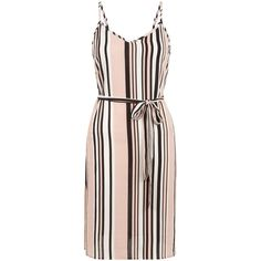 New Look Petite Pink Stripe Belted Slip Dress (43 PEN) ❤ liked on Polyvore featuring dresses, pink pattern, slip dresses, pink striped dress, pattern dress, striped dresses and pink print dress