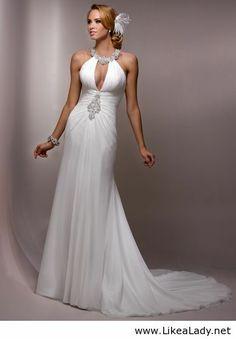 Gorgeous Scoop A-line Chapel Train bridal gowns