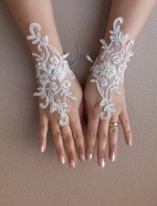 İvory Wedding Glove, ivory lace gloves, Fingerless Glove, embroidered with pearls bridal gloves, french lace gloves Lace Gloves, Fingerless Gloves, Lego Wedding, Wedding Gloves, Cinderella Wedding, Lace Jewelry, Ivory Wedding, Lace Weddings, French Lace