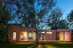 In a suburban backyard near London, Ecospace Studios installed a prefabricated, modular home office