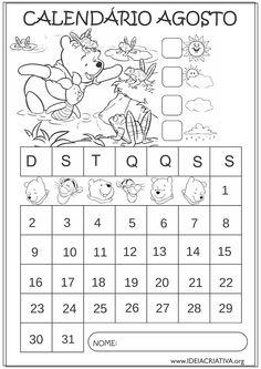 Calendários de Agosto 2015 Turma do Pooh para Colorir