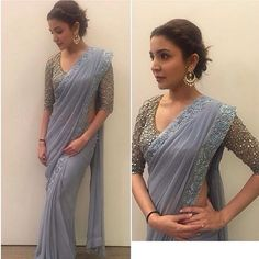 In love with @anushkasharma's pastel colored mirror work sari. In @monishajaising.