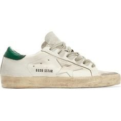 Golden Goose Super Star Distressed Metallic Suede-Paneled Leather Sneakers as seen on Taylor Swift