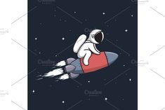 Baby astronaut flying on rocket astronaut cosmonaut spaceman personage rocket spaceship character vector illustration hand drawn drawing graphical graphic print t-shirt typography cute cartoon childish sweet funny baby cosmos universe cosmic galaxy astronomical spacewalk science scientific astronomy galactic space vintage retro star