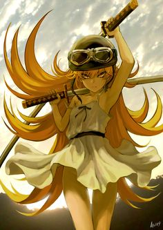 Oshino shinobu Kiss-shot Acerola-orion Heart-under- blade All Anime, Anime Manga, Anime Stuff, Shinobu Oshino, Kiss Shot, Pixiv Fantasia, Loli Kawaii, Monogatari Series, Nichijou