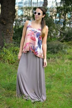 look con gonna lunga - maxi skirt - flamingo print - ootd - outfit