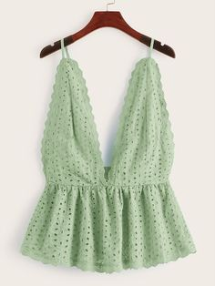 To find out about the Eyelet Embroidery Ruffle Hem Cami Top at SHEIN, part of our latest Tank Tops & Camis ready to shop online today! Cute Summer Outfits, Spring Outfits, Cute Outfits, Cami Tops, Lace Top Outfits, Fashion News, Fashion Outfits, Diy Clothing, Ladies Dress Design