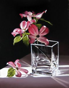Pink Dogwood in Square Box- Diana Ponting