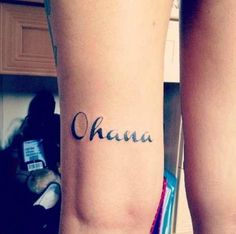 """Disney tattoos """"Ohana means family, no one gets left behind"""""""