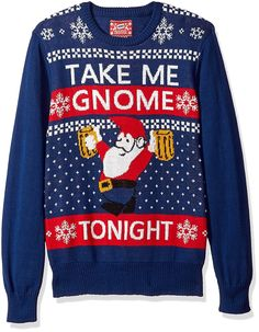 Men s Take Me GNOME Tonight Ugly Christmas Sweater - Navy -  CF185G6M9GG 6fe46bba8