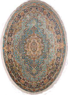 Tabriz DesignOval Persian Rug100% silk