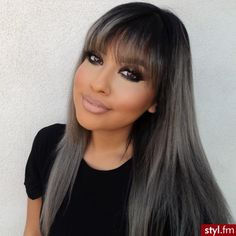 Kinda love this hair color for fall/winter. It's nice to see it on someone with straight hair and bangs like mine.