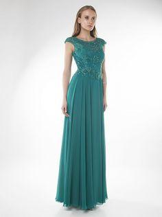 Φόρεμα μακρύ βραδινό με δαντέλα στο μπούστο και κέντημα - Βραδυνά Φορέματα