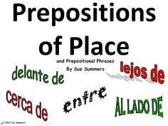 This is a basic introduction to Spanish prepositions of place and prepositional phrases. The set includes a title slide and 11 additional signs with prepositions such as entre, cerca / cerca de, lejos / lejos de, encima, encimia de, etc.